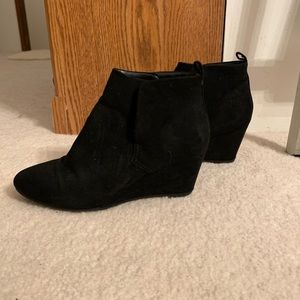 Forever 21 Faux Suede Black Wedge Booties